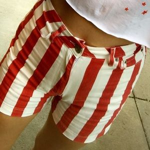 White and Red Striped BDG Shorts